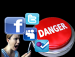 Image of angry person with danger button and various social media link symbols