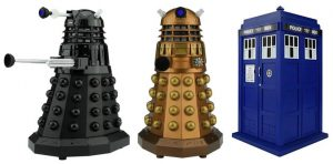 Image of 3 styles of Doctor Who Bluetooth Speakers: black Dalek Sec, the impressively bronzed Assault Dalek, and the famous blue box herself, the lovely TARDIS