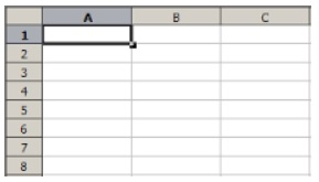 Image of empty spreadsheet cell showing rows and columns