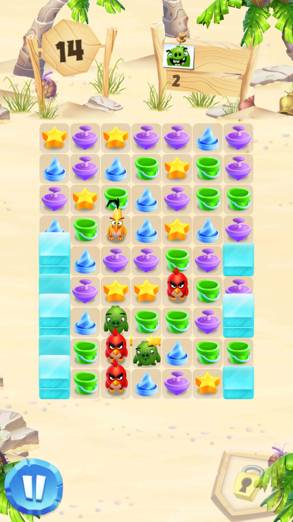 Image of Angry Birds Match Level with Red and Yellow Birds