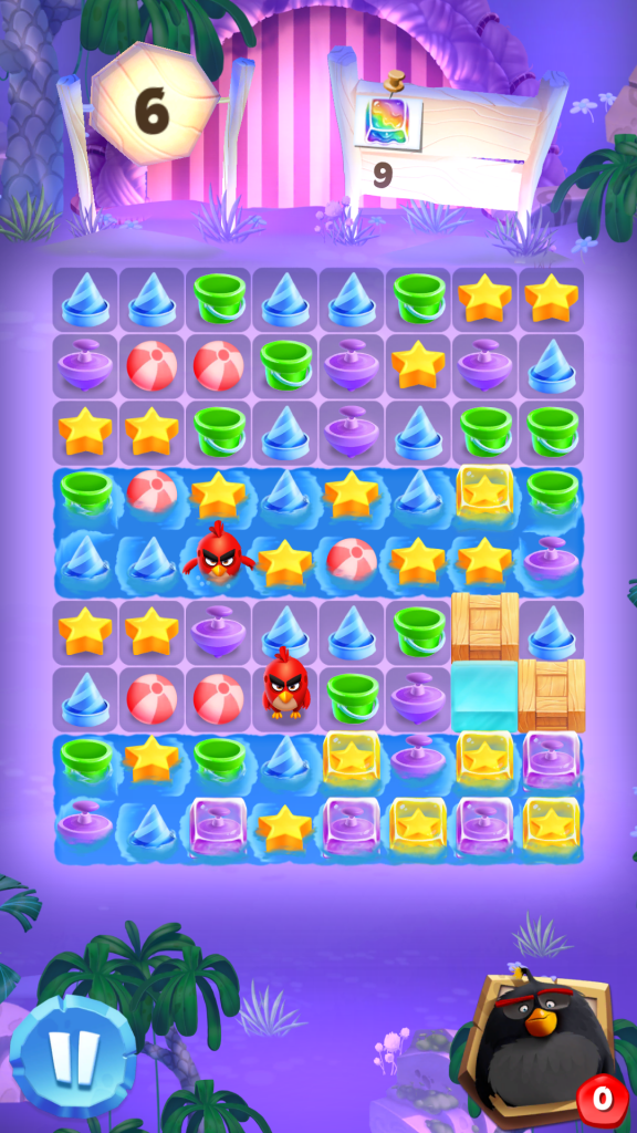 Image of Angry Birds Match Level with Water and Red Birds