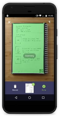 Rocketbook Phone App Scanning a Notebook Page