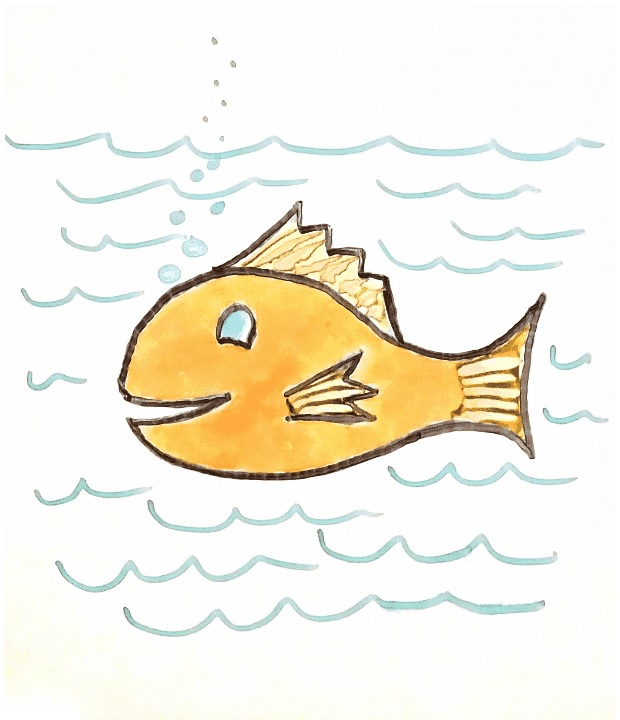 Rocketbook Color Scan of Marker Drawn Goldfish
