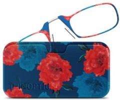 ThinOPTICS Curated Collection Blue and Red Flowers Universal Pod Case with Reading Glasses