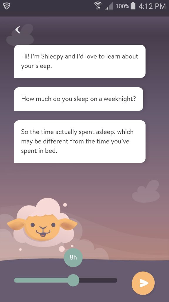 Shleep App Welcome Questions Screen