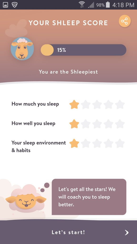 Shleep App Initial Sleep Score Screen