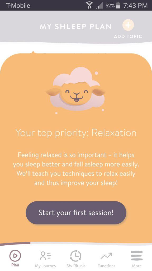Shleep App Lesson Plan Screen