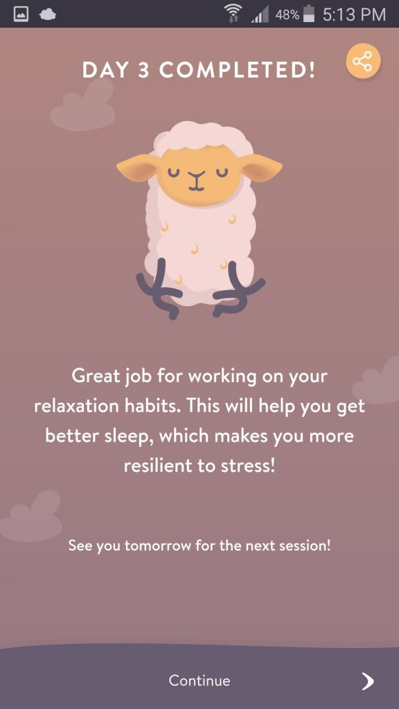 Shleep App Lesson Day Completed Screen