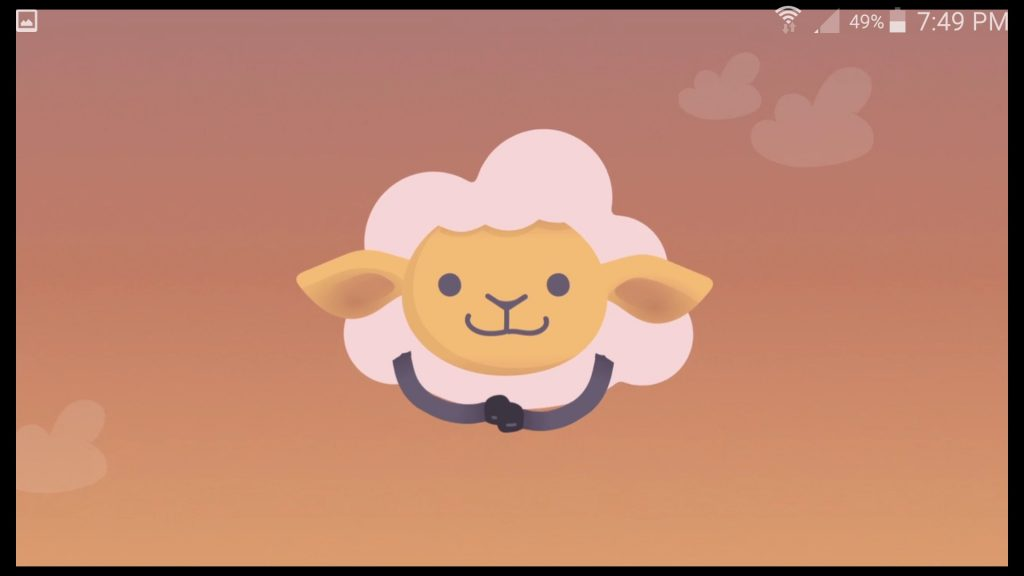 Shleep App Mascot Sheep Awake Screen