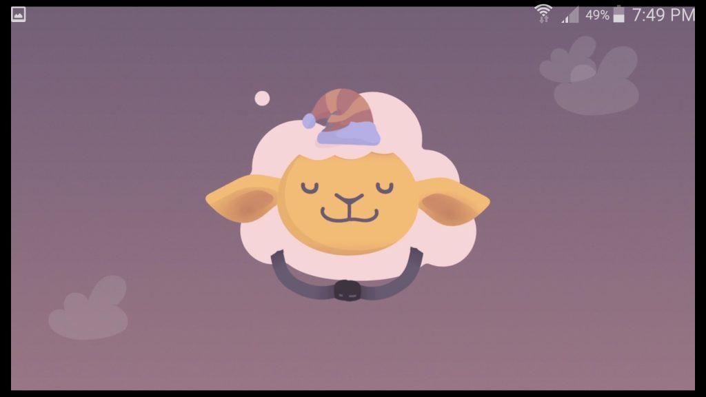 Shleep App Mascot Sheep Asleep Screen
