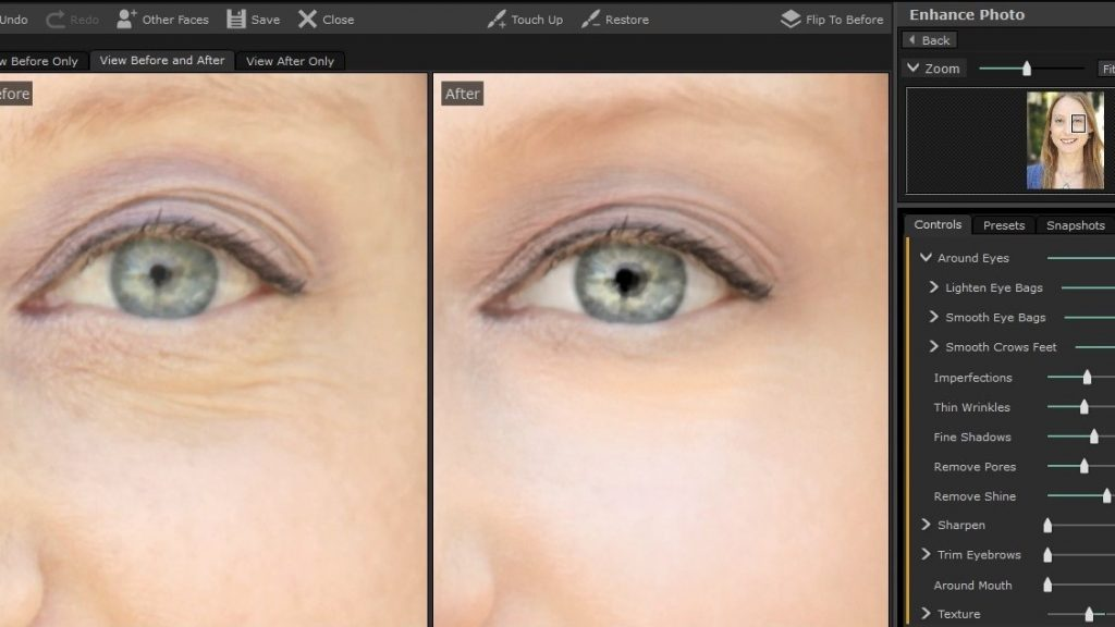 PortraitPro 17 Fine Line Retouching and Eye Whitening