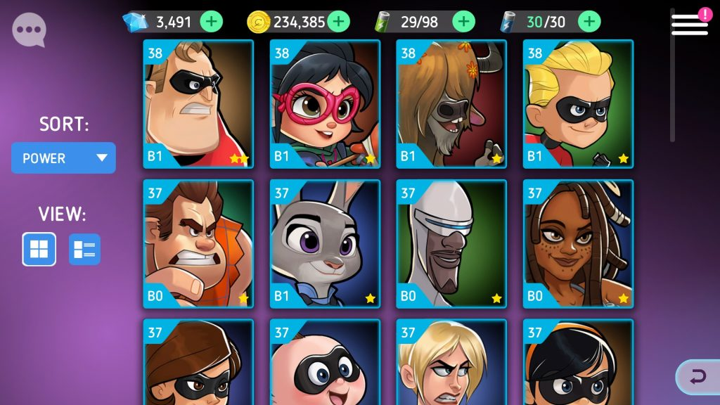 Disney Heroes: Battle Mode Character Roster