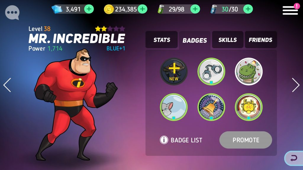 Disney Heroes: Battle Mode Mr. Incredible Hero Stats