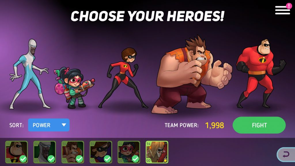 Disney Heroes: Battle Mode Team Member Choice