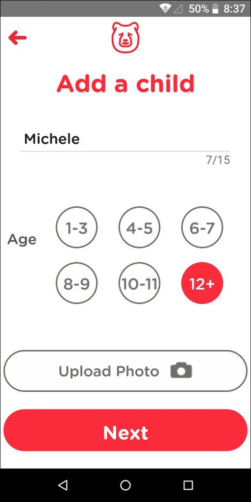TechDen Parent App Add Child Screen