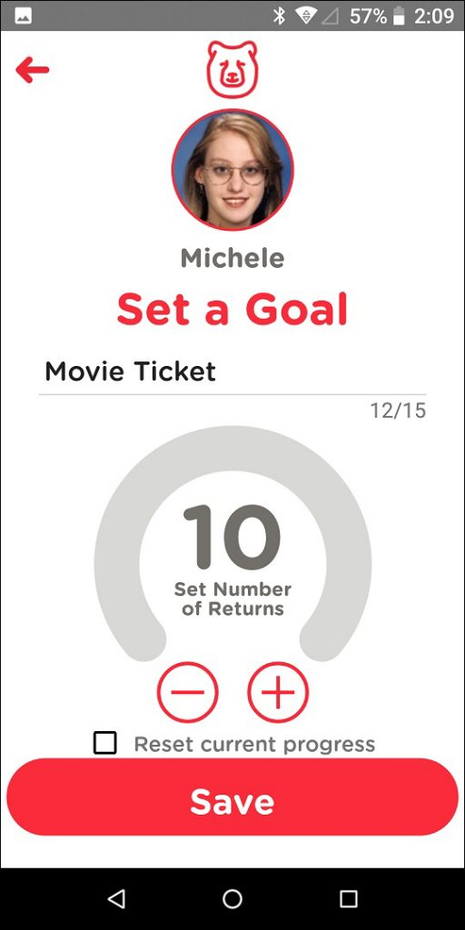 TechDen Parent App Set Goal Screen