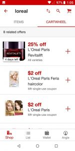Target App Cartwheel Offers Search Results
