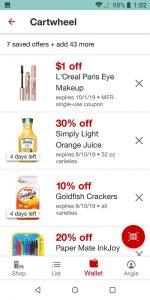 Target App Cartwheel Offers List