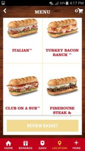 Firehouse Subs App Mobile Order Menu