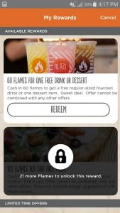 Blaze Pizza App Available Rewards