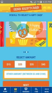 Wetzel's Pretzels App Gift Card Screen