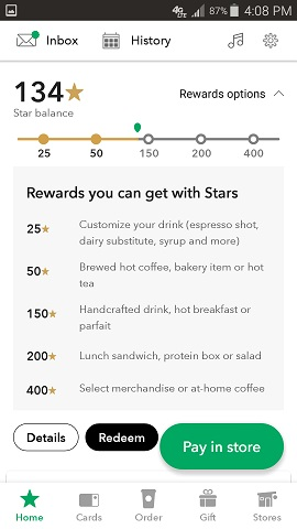 Starbuck's App Rewards Options