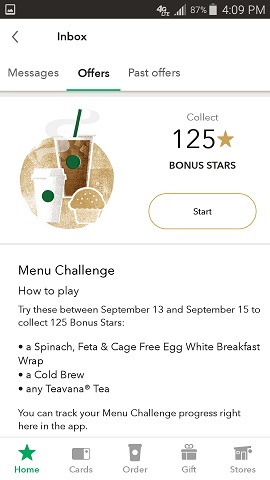 Starbuck's App Bonus Offer