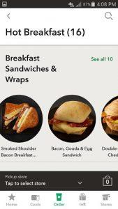 Starbuck's App Mobile Order Menu