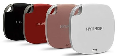 4 Hyundai External Portable SSD Drives in Black, Red, Pink, and White