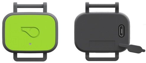 Whistle FIT Device Front and Back with Micro USB Port