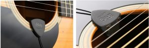 Close up images of iRig Acoustic Mic on guitar