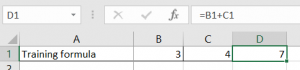 Image showing how spreadsheet formula is displayed in formula area