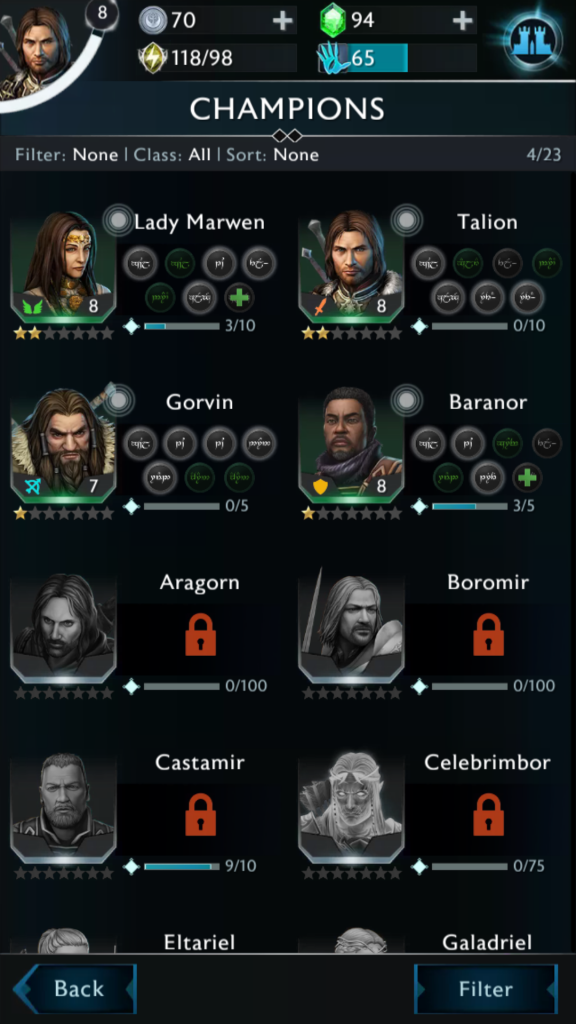 Shadow of War Champions Team Screen