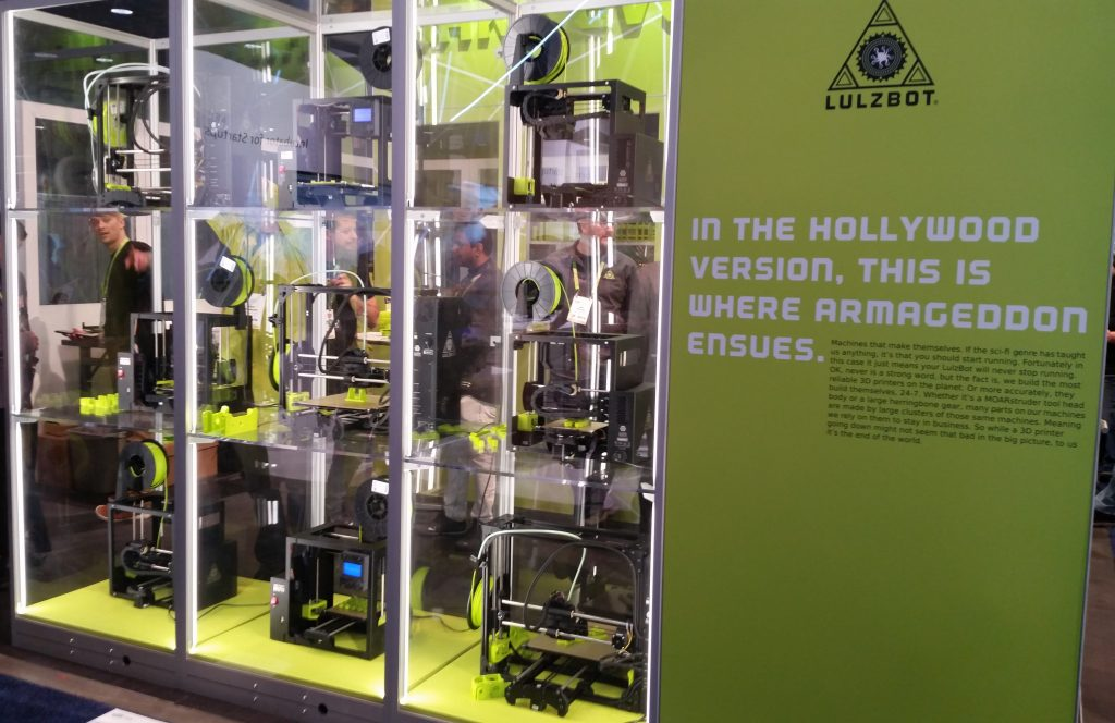 Image of 9 LulzBot 3D Printers Making Component Parts to Build More LulzBots