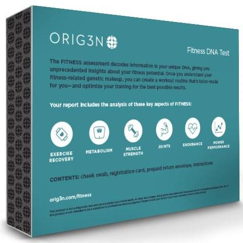 Image of Orig3n Fitness DNA Test Back of Box