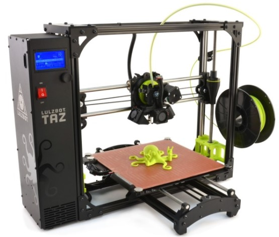 Image of LulzBot 3D Printer with Green Octopus Model
