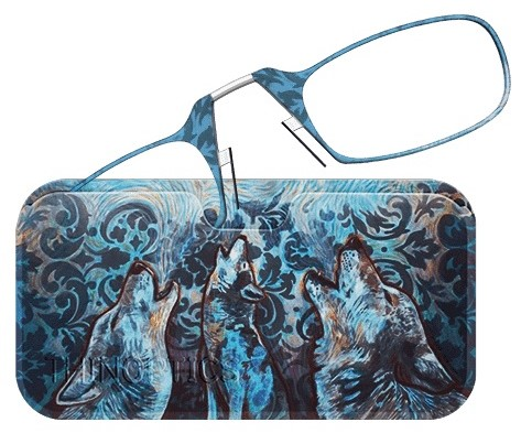 Image of Wolf Print Art Collection ThinOPTICS Reading Glasses and Case