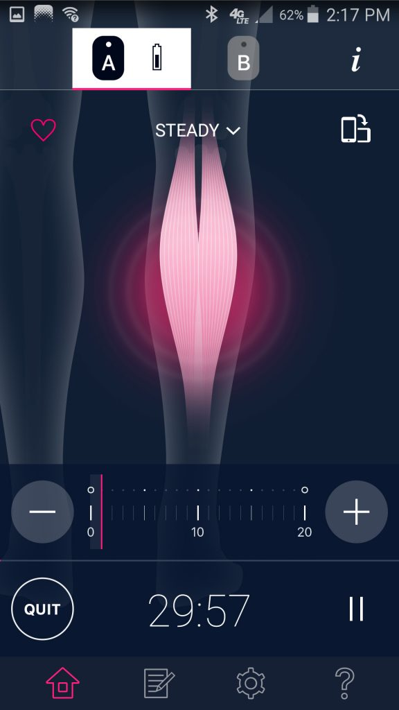 Omron TENS App Calf Steady Mode Session Screen