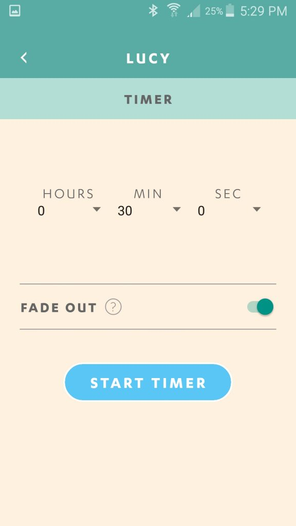 Luci Connect App Timer Set Screen