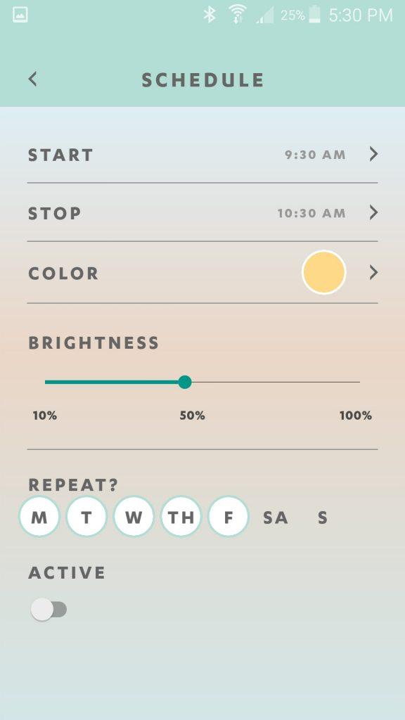 Luci Connect App Schedule Set Screen