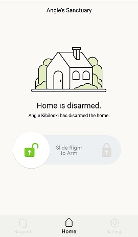 Kangaroo App Device Disarmed Screen