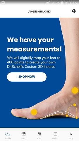 Dr. Scholl's Custom Contour 3D Printed Insoles App Completion Notice