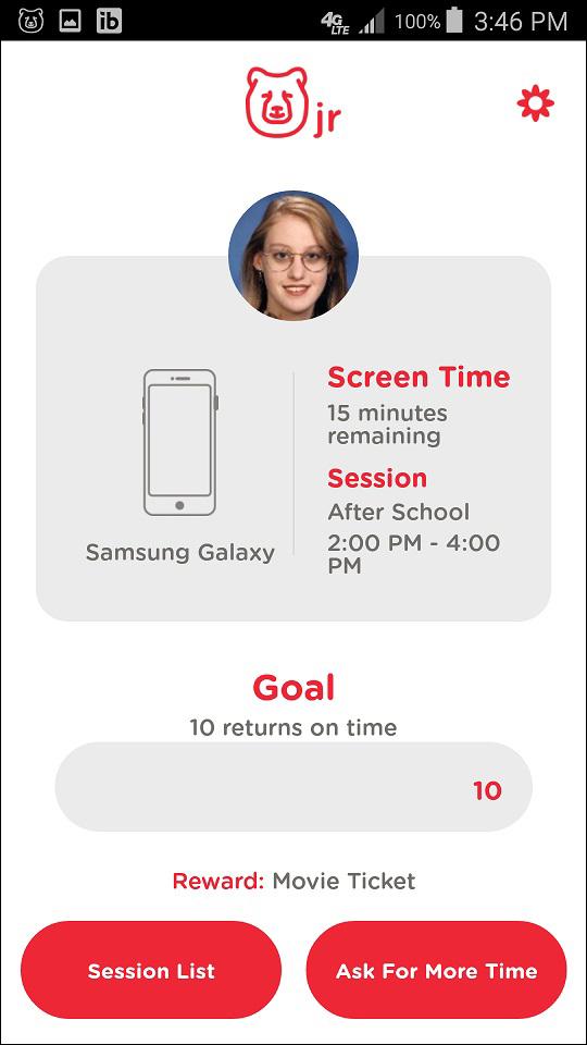 TechDen Jr. App Screen Time Remaining Screen