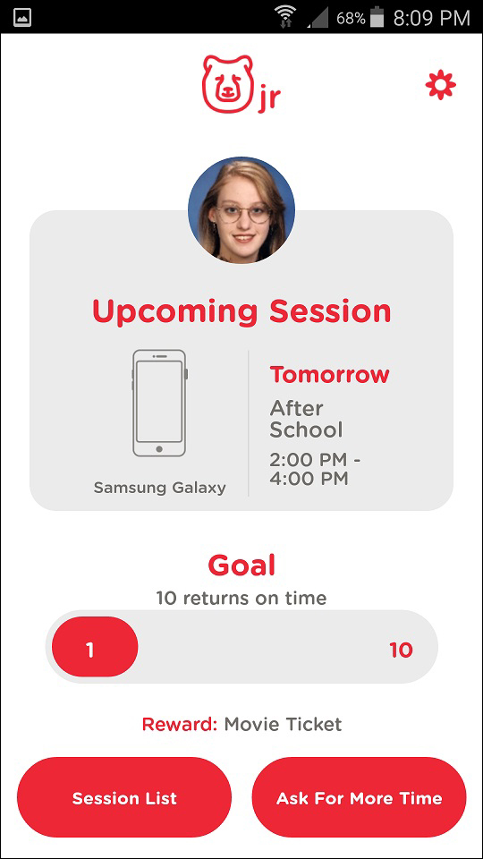 TechDen Jr. App Upcoming Session and Goals Screen