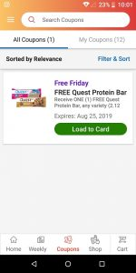 Ralph's App Free Friday Coupon Listing