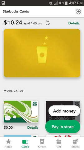 Starbuck's App Stored Cards