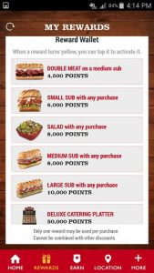 Firehouse Subs App Rewards Options
