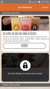 Blaze Pizza App Available Rewards