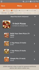Blaze Pizza App Mobile Ordering Menu