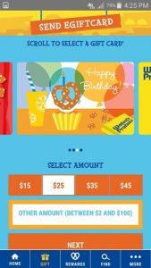 Wetzel's Pretzels App Gift Card Screen